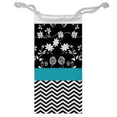 Flowers Turquoise Pattern Floral Jewelry Bag