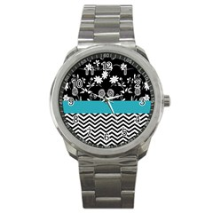 Flowers Turquoise Pattern Floral Sport Metal Watch