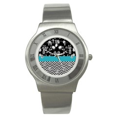 Flowers Turquoise Pattern Floral Stainless Steel Watch