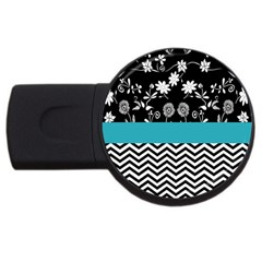 Flowers Turquoise Pattern Floral Usb Flash Drive Round (4 Gb)