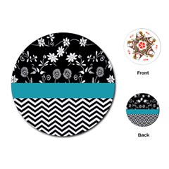 Flowers Turquoise Pattern Floral Playing Cards (Round)