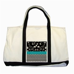 Flowers Turquoise Pattern Floral Two Tone Tote Bag