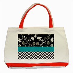 Flowers Turquoise Pattern Floral Classic Tote Bag (Red)