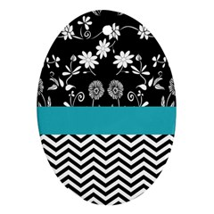 Flowers Turquoise Pattern Floral Oval Ornament (Two Sides)