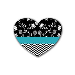 Flowers Turquoise Pattern Floral Rubber Coaster (heart)