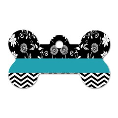 Flowers Turquoise Pattern Floral Dog Tag Bone (two Sides)