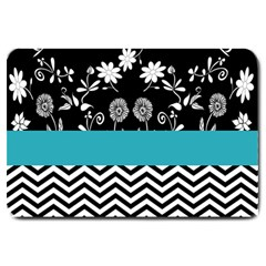 Flowers Turquoise Pattern Floral Large Doormat