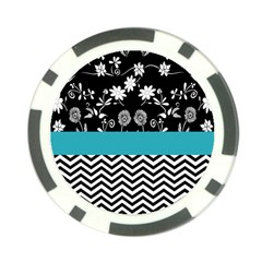 Flowers Turquoise Pattern Floral Poker Chip Card Guard (10 Pack)