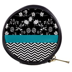 Flowers Turquoise Pattern Floral Mini Makeup Bags