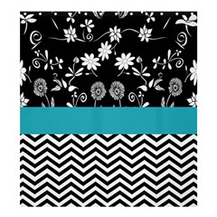 Flowers Turquoise Pattern Floral Shower Curtain 66  X 72  (large)