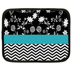 Flowers Turquoise Pattern Floral Netbook Case (XL)