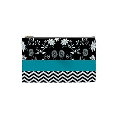 Flowers Turquoise Pattern Floral Cosmetic Bag (Small)