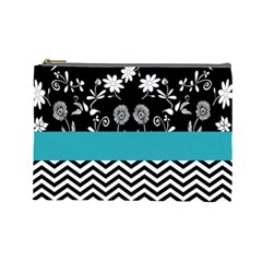 Flowers Turquoise Pattern Floral Cosmetic Bag (Large)