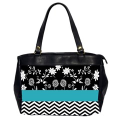 Flowers Turquoise Pattern Floral Office Handbags (2 Sides)