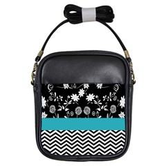 Flowers Turquoise Pattern Floral Girls Sling Bags