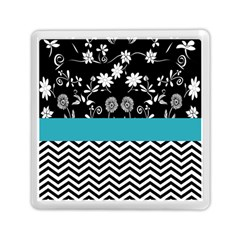 Flowers Turquoise Pattern Floral Memory Card Reader (square)
