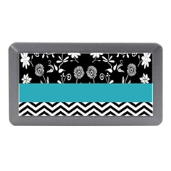 Flowers Turquoise Pattern Floral Memory Card Reader (Mini)