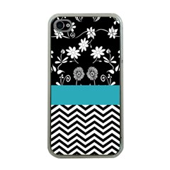 Flowers Turquoise Pattern Floral Apple Iphone 4 Case (clear)
