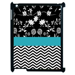 Flowers Turquoise Pattern Floral Apple Ipad 2 Case (black)