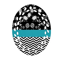 Flowers Turquoise Pattern Floral Ornament (oval Filigree)