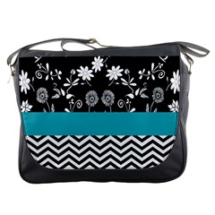 Flowers Turquoise Pattern Floral Messenger Bags