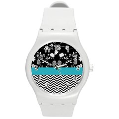 Flowers Turquoise Pattern Floral Round Plastic Sport Watch (M)