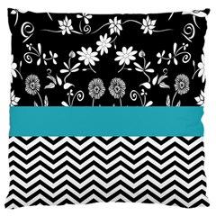 Flowers Turquoise Pattern Floral Large Cushion Case (One Side)