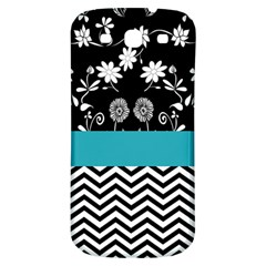 Flowers Turquoise Pattern Floral Samsung Galaxy S3 S III Classic Hardshell Back Case