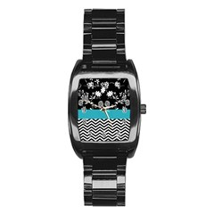 Flowers Turquoise Pattern Floral Stainless Steel Barrel Watch