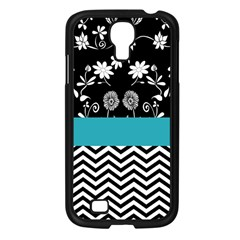 Flowers Turquoise Pattern Floral Samsung Galaxy S4 I9500/ I9505 Case (Black)