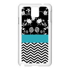 Flowers Turquoise Pattern Floral Samsung Galaxy Note 3 N9005 Case (white)