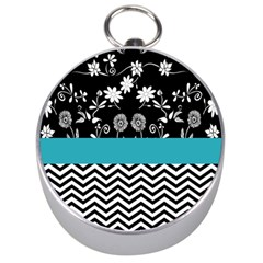 Flowers Turquoise Pattern Floral Silver Compasses
