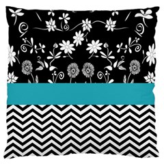 Flowers Turquoise Pattern Floral Standard Flano Cushion Case (One Side)