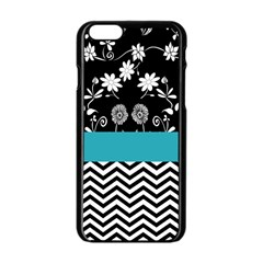 Flowers Turquoise Pattern Floral Apple iPhone 6/6S Black Enamel Case