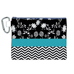 Flowers Turquoise Pattern Floral Canvas Cosmetic Bag (XL)