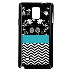 Flowers Turquoise Pattern Floral Samsung Galaxy Note 4 Case (black)