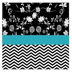 Flowers Turquoise Pattern Floral Large Satin Scarf (square)