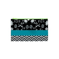 Flowers Turquoise Pattern Floral Cosmetic Bag (xs)
