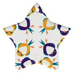 Pattern Circular Birds Star Ornament (Two Sides)