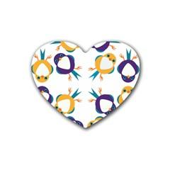 Pattern Circular Birds Rubber Coaster (Heart)