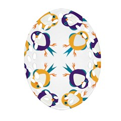 Pattern Circular Birds Oval Filigree Ornament (Two Sides)