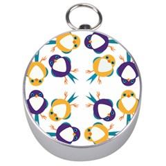 Pattern Circular Birds Silver Compasses