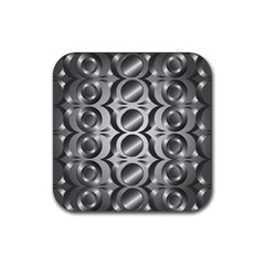 Metal Circle Background Ring Rubber Coaster (Square)