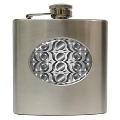 Metal Circle Background Ring Hip Flask (6 oz)