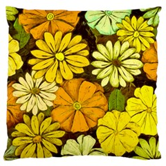 Abstract #417 Large Flano Cushion Case (One Side)