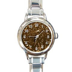 Festive Bubbles Sparkling Wine Champagne Golden Water Drops Round Italian Charm Watch