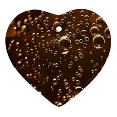 Festive Bubbles Sparkling Wine Champagne Golden Water Drops Ornament (Heart)