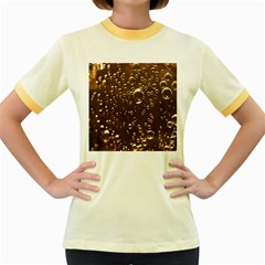 Festive Bubbles Sparkling Wine Champagne Golden Water Drops Women s Fitted Ringer T-Shirts