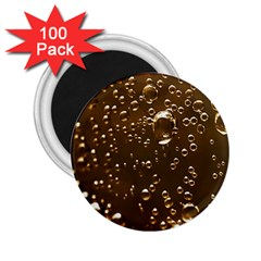 Festive Bubbles Sparkling Wine Champagne Golden Water Drops 2 25  Magnets (100 Pack)