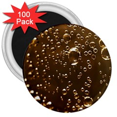 Festive Bubbles Sparkling Wine Champagne Golden Water Drops 3  Magnets (100 Pack)